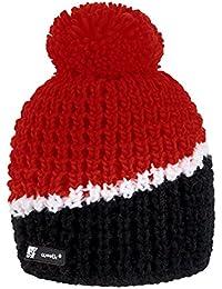 4sold Floppy Kinder Wurm Winter Style Beanie Strickmütze Mütze mit Fellbommel Bommelmütze HAT SKI Snowboard