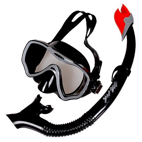 LBAFS Tauchbrille Für Profis Schnorchelset Für Taucher - Trockene Schnorchelmaske Anti-Fog Anti-Leck Tauchmaske,Black