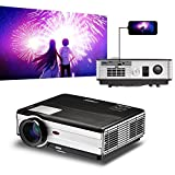 LED LCD HDMI USB proyector Home Cinema HD 4000 lúmenes para Smartphone iPad iPhone Tablet, WXGA HD 1080p WXGA juego película proyectores con HDMI 2 USB VGA AV Audio Out TV Laptop PC DVD XBOX PS4 fuera