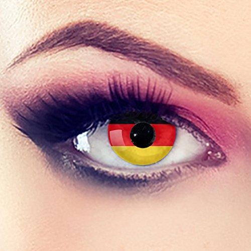 Taffstyle® Farbige Linsen Fanartikel Kontaktlinsen Fussball Weltmeisterschaft 2014 WM & EM Länder Style Jahreslinsen - Deutschland