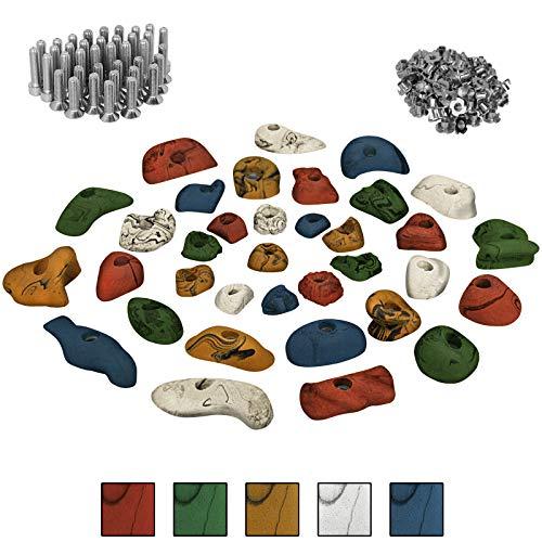 ALPIDEX Starterset: 35 Kinder Klettergriffe Klettersteine inklusive Schrauben und Einschlagmuttern - Farbe:bunt