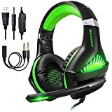 Gaming Headset für PS4 PC Xbox One Computer, Samoleus Stereo 3.5 mm Kabelgebundenes Gaming Kopfhörer mit Mikrofon für PS4, PC, Laptops,Smartphone, Playstation 4