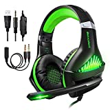Cuffie Gaming per PS4 PC, Stereo Gaming Headset,Cuffie da Gioco, Samoleus 3.5mm Jack Cuffie Gamer con Microfono, Luci LED, Noise Cancelling, Deep Bass Stereo, Audio Surround, Cancellazione di Rumore