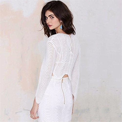Der Neuen Frauen Weisse Langarm Spitzen Wellig Unregelmaessigen Rand Kurze Taille Oben T Shirt Weiß