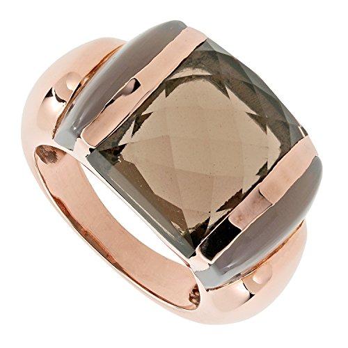LaLuna Design Damen-Ring Sterling-Silber 925 rotvergoldet Rauchquarz Achat grau RW16 (Tansanit Ring Sterling Silber)