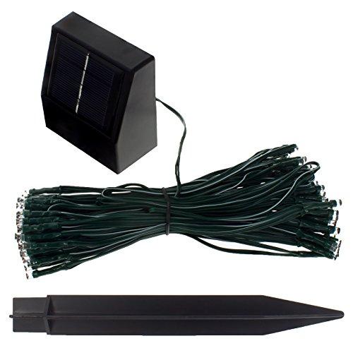 Smartfox LED Solar Lichterkette für Außen mit 100 LEDs, 17 Meter, Wasserdicht, Lichtsensor, Leuchtfarbe: Blau