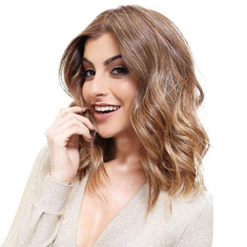 JXQ-N Sweet Department Dating Essential Short Curly Große Welle Rose Intranet Lace Inline Schwarz Synthetic Long Hair Wavy Curly (A)