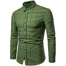 Bestow Camisa de Manga Larga Casual a Cuadros Grande de los Hombres Camisa  de Manga Larga 35b9b676231