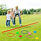 FEPITO 6 in 1 Carnival Outdoor Games Combo Set Cornhole Bean Bags Ring Toss Game Supplies 36 Pcs Set