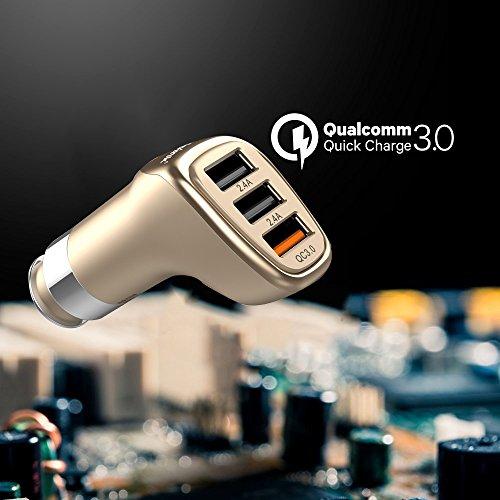Cargador de coche Dual USB cargador de mechero cargador de coche con 3puertos, lennov smart-adaptive carga rápida tecnología (integrado seguridad protección) para iphone 6s/6s Plus/6/6Plus, iPad Pro/aire 2/Mini 3, Galaxy S6/S6Edge y más (oro)