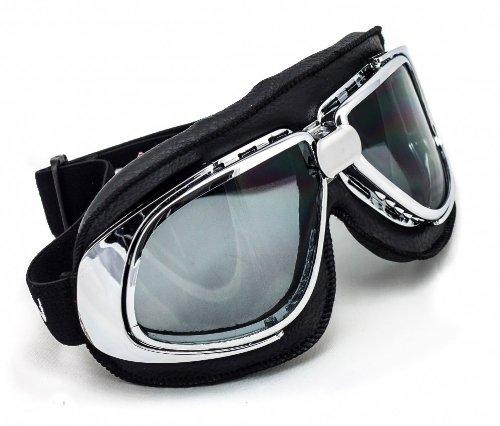 Preisvergleich Produktbild SOXON SG-301 Night Vintage Vespa Scooter Flieger-Brille Schutz-Brille Goggles Biker Jet-Brille Oldtimer Sport-Brille Cruiser Motorrad-Brille Pilot Ski-Brille,  Leder Design,  Schwarz / Schwarz,  Einheitsgröße
