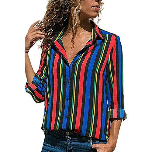 Stretch-gestreiftes Bustier (MRULIC Damen Shirt Tie-Bow Neck Striped Langarm Spleiß Bluse Gestreift Tragen(T1-Blau,EU-36/CN-S))