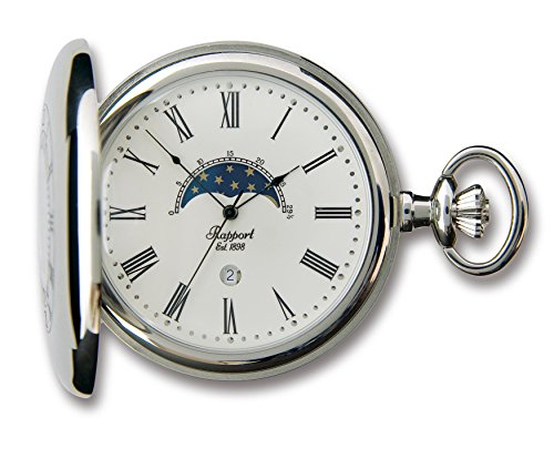 Rapport Oxford Quarz Half Hunter Mondphase Silberfarben polierte Taschenuhr PW81