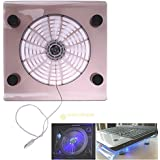 "Alcoa Prime USB Big Cooling Fan With LED Light Cooler Pad Stand For 15"" Laptop PC Notebook"