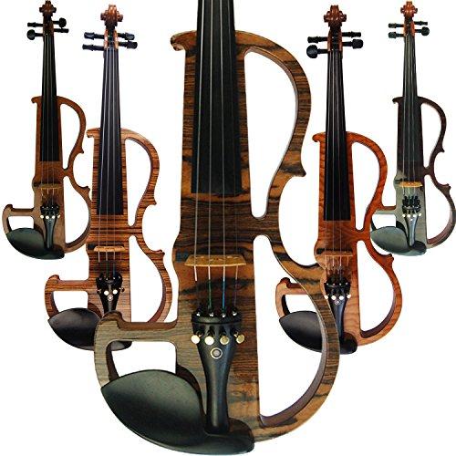 aliyes handgefertigt Professional Silent Elektrische Violine 4/4voller Größe Professional Massivholz Student Violine für Anfänger Kit-Saite für Violinen Schulterstütze, Kolophonium MWDS-1902 (Weiße Geige In Voller Größe)