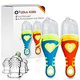 Lola Kids Fruchtsauger für Babys , 2 Fruchtsauger mit 6 Aufsatzkappen aus Silikon, Blau + Orange