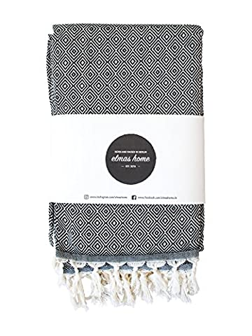 Couvre Lit + Serviette de Plage + Plaid Canapé + Picnic Blanket + Plaid Voiture - 100% Coton - Versatile - Style Vintage - 240 x 200 cm XXL - Couleur Noir Avec - CLASSI DIAMOND par Elmas Home