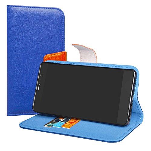 LiuShan Archos Diamond 55 Selfie/Lite Hülle, Brieftasche Handyhülle Schutzhülle PU Leder mit Kartenfächer und Standfunktion für Archos Diamond 55 Selfie/Diamond 55 Selfie Lite Smartphone,Deep Blue