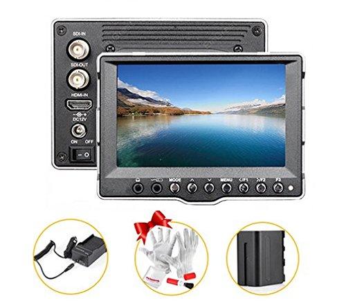 Gowe 12,7cm Aluminium SDI HDMI Ultra HD 800* 400CCTV LCD-Field Monitor für Canon 5D II 7D Videoleuchte BMCC + Akku + Ladegerät