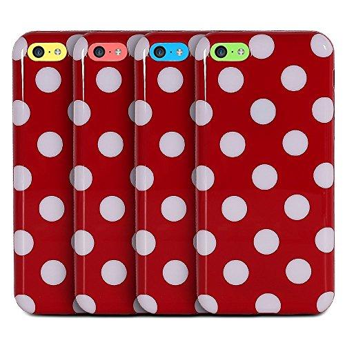 Semoss - Polka Dots Custodia in Silicone Case Cover per Apple iPhone 5C (Rosso/Bianco) Rosso/Bianco