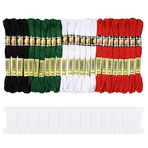 Pllieay, set di 24 matasse di filo da ricamo in cotone e 12 farfalle avvolgifilo, ideali per lavori a maglia, punto croce e per realizzare braccialetti, 4 colori