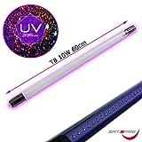 UV LED Schwarzlicht Röhre für LED Basis  Blacklight LED Ersatzröhre für Halterungen mit einseitiger, direkter Spannungsversorgung  10W Leistung  395nm Wellenlänge  T8 Format  230V/50Hz | SATISFIRE | (60cm)