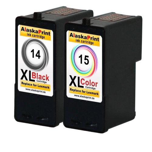 Premium 2er Set Kompatible Druckerpatronen Als Ersatz für Lexmark 14 XL + 15 XL für Lexmark X2600 X2620 X2630 X2650 X2670 Z2300 Z2310 Z2320 X2620 X2600 Tintenpatronen (Schwarz , Farbig) 14+15- Lex (Von Ersatz-patronen Lexmark)