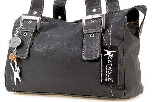 Catwalk Collection Handbags Borsa con manici, Donna, Nero (Schwarz),