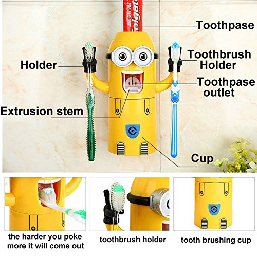 Shag Automatic Toothpaste Dispenser and Toothbrush Holder