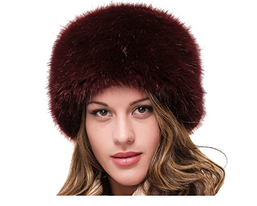 LADIES SUPERB QUALITY RED WINE FAUX FUR WINTER RUSSIAN COSSACK CLOCHE