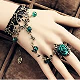 Spritech (TM) pulsera para mujer/niña ajustable, vintage, retro, con cordón negro de encaje, gemas verdes, borla de cristal unida con anillo, arnés a la mano.
