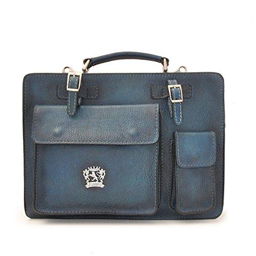 Pratesi MilanoMittel italienischen Leder-Aktentasche Business-Tasche (bräunen) (blau) blau
