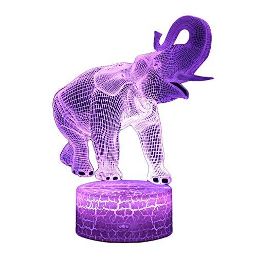 AidShunN 3D Delightful Elephant Magic Ilusión óptica Lámparas Luz de Noche para...