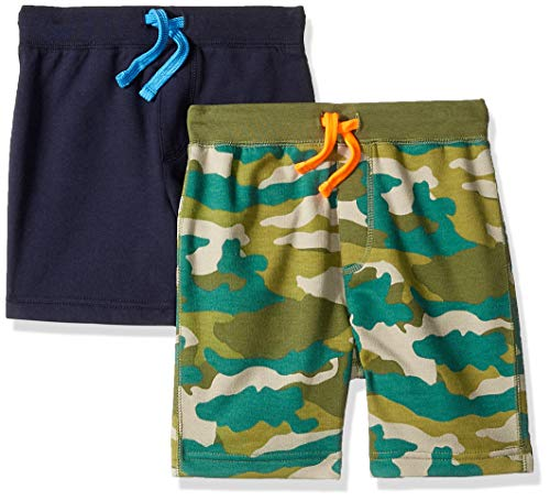 Baumwoll-pull-on Shorts (LOOK by crewcuts Jungen 2er-Pack Shorts, Camo/Navy, Small (6/7))