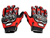 #3: Probiker Leather Motorcycle Riding Gloves (Red, L)