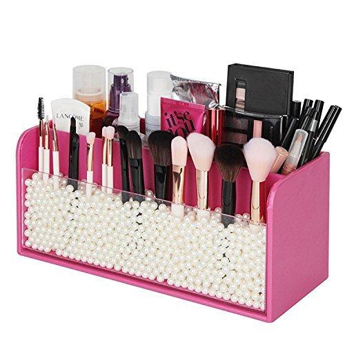 JackCubeDesign Pennello per trucco acrilico in pelle Pennello cosmetico per matita Penna Supporto per organizer con perle d'avorio e 3 scomparti (rosa, 30 x 12,4 x 13,4 cm) -: MK284B