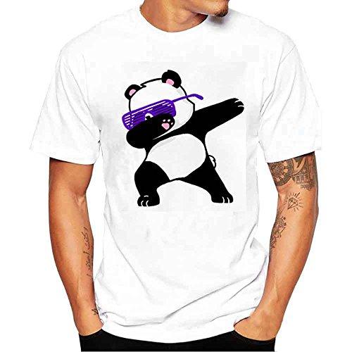 POIUDE Herren T-Shirt Kurzarmshirt Top Print Shirt Casual Basic T Shirts Valueweight Rundhals S-4XL Übergröße(Weiß, X-Large)