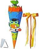 Unbekannt BASTELSET Schultüte -  lustige Eule - Schule  - 85 cm - incl. großer Schleife - mit / ohne Kunststoff Spitze - Zuckertüte - Set zum selber Basteln - 6 eckig..