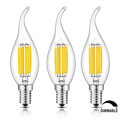 TAMAYKIM 6W Dimmable LED Filament Candle Light Bulb, 3000K Soft White 600LM, E14 Candelabra Base Lamp, C35 Flame Shape Bent Tip, 60W Incandescent Equivalent, 3 Pack