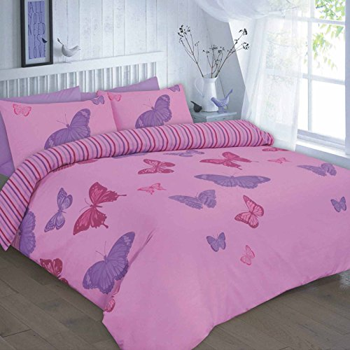 LONDON.BEDDING ® ELSA BUTTERFLY NATURE POLYCOTTON REVERSIBLE DUVET QUILT COVER SET WITH PILLOW CASES (Double, Lilac / Purple)