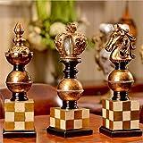 YESUN Klassische Internationale Schach Ornament, 3Er Set, Europäischen Retro-Stil, Harz, Dekoration, Kreatives Geschenk, Handgemachte Handwerk, Wohnzimmer, Arbeitszimmer