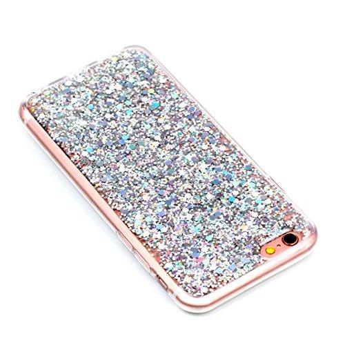 """MOONCASE iPhone 6/iPhone 6s Coque, Bling Glitter Doux TPU Étuis Case Ultra Slim Étanche aux Chocs Housse de Protection pour iPhone 6/iPhone 6s 4.7"""" Bleu Argent"""