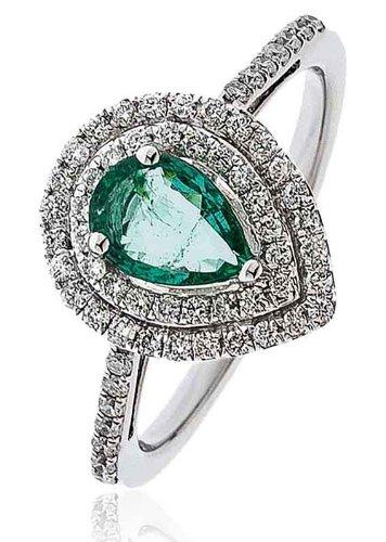 0,90G/VS2certificato ct forma di pera smeraldo Centro con micro Set Forma di Pera Halo Diamante Anello con diamanti sulle spalle in Oro Bianco 18K, oro bianco, 56 (17.8), cod.