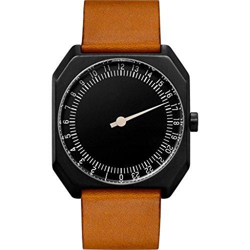 Slow Jo 19 - Reloj suizo unisex de 24 horas negro, con correa de cuero marrón vintage