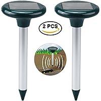 Petacc Repelente ultrasónico de insectos de Petacc Repulsor accionado mediante luz solar Control multi-funcional de insectos, aptos para granjas, jardín y césped verde, sistema de 2, verde de hierba.