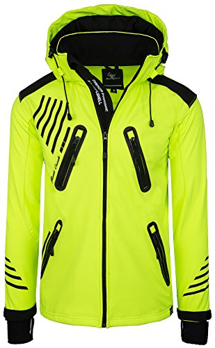Rock Creek Herren Softshell Jacke Outdoorjacke Windbreaker Übergangs Jacke H-140 [Neonyellow 3XL]