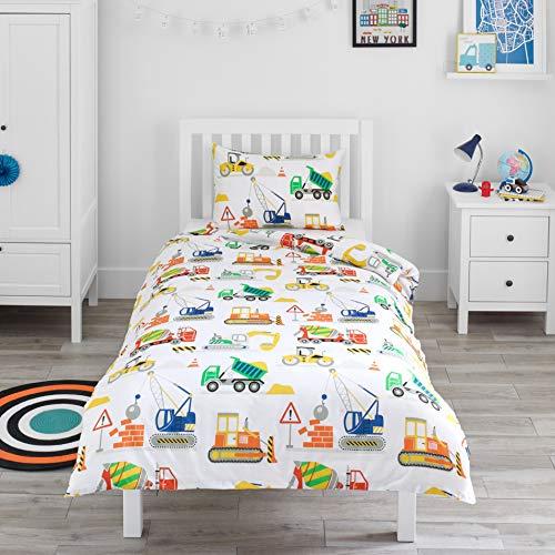 Bloomsbury Mill - Baufahrzeuge – Lastwagen, Bagger & Kräne - Bettwäscheset für Kinder - Bettbezug und Kissenbezug – Einzelbett