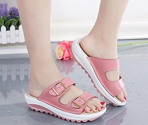 sandales double boucle glisser sandales plates pantoufles femmes plage Pink