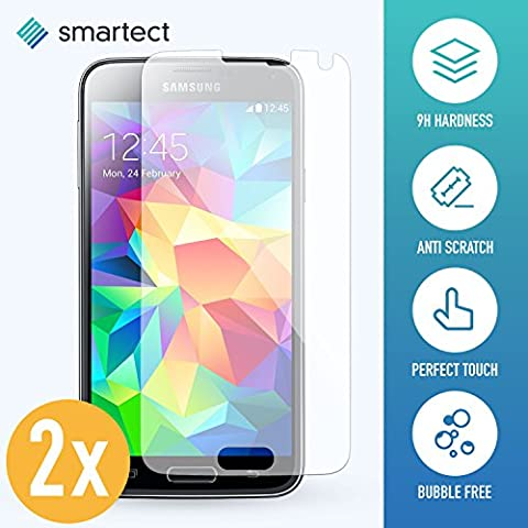 smartect® [2x] Panzerglas Displayschutzfolie für Samsung Galaxy S5 / S5 Neo aus gehärtetem Tempered Glass • Gorilla Glass mit Härtegrad 9h • 0,33mm Ultra-Dünn • Abgerundete Kanten (2.5D) • Anti Fingerabdruck