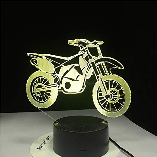 KangYD Modello Di Moto 3D Illusion Ha LED La Lampada, Luce Notturna Colorata, Giocattolo Per Bambini, Colore Remoto 7 (Bianco Crepa), Regalo Di Natale, Lampada Per Bamb